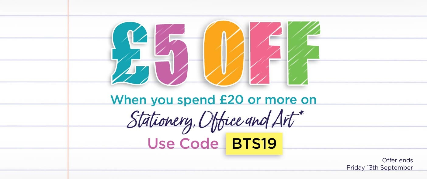 £5 Off When You Spend £20 or More on Stationery, Office and Art