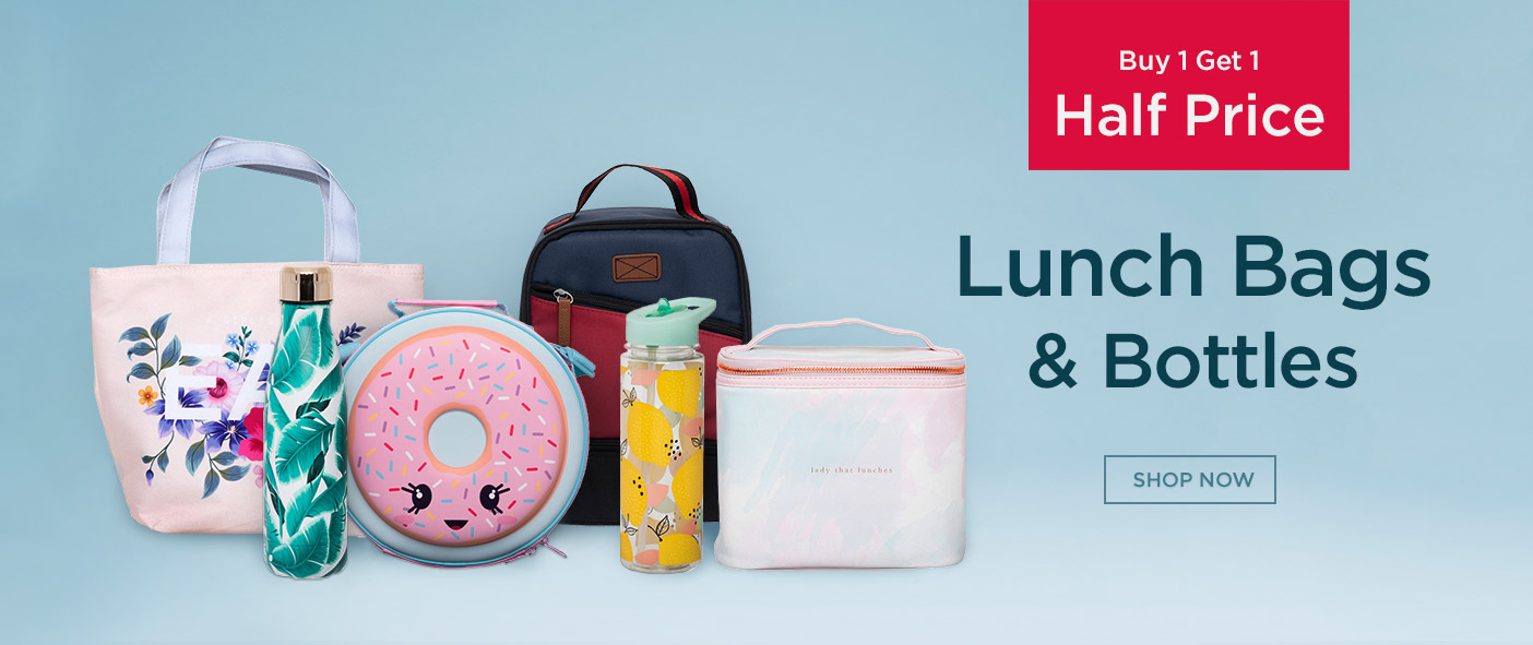 Buy 1 Get 1 Half Price Lunch Bags and Bottles