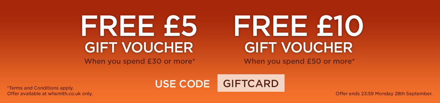FREE WHSMITH GIFT CARD - £5 WHEN YOU SPEND £30 OR £10 WHEN YOU SPEND £50 WITH PROMO CODE: GIFTCARD