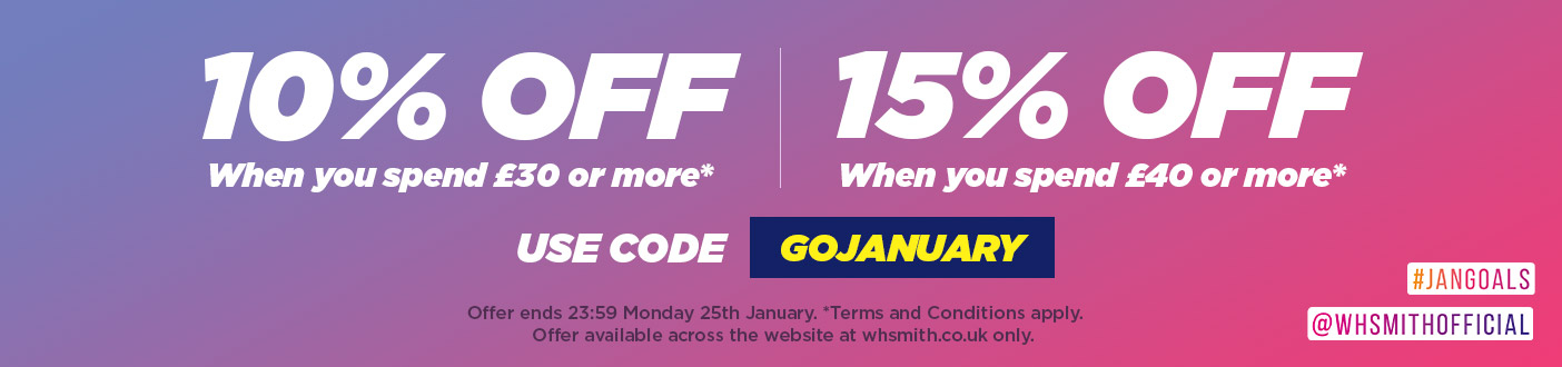 GET AN EXTRA 10% OFF WHEN YOU SPEND £30 OR 15% OFF WHEN YOU SPEND £40 - USE CODE: GOJANUARY
