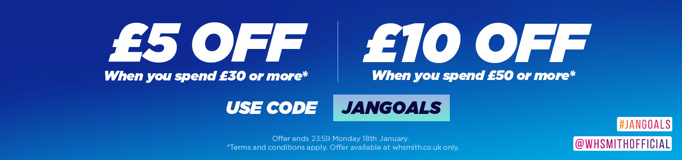 GET AN EXTRA £5 OFF WHEN YOU SPEND £30 OR £10 OFF WHEN YOU SPEND £50! USE PROMO CODE: JANGOALS