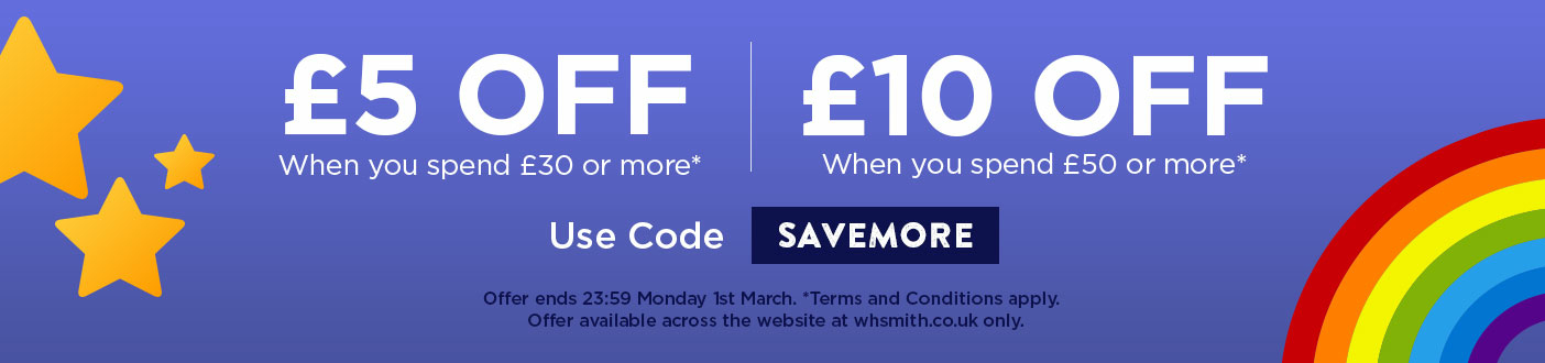 GET AN EXTRA £5 OFF WHEN YOU SPEND £30 OR £10 OFF WHEN YOU SPEND £50! USE PROMO CODE: SAVEMORE