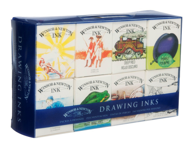 Artists Colour Inks. Winsor /& Newton Drawing 8 Ink Set William Collection