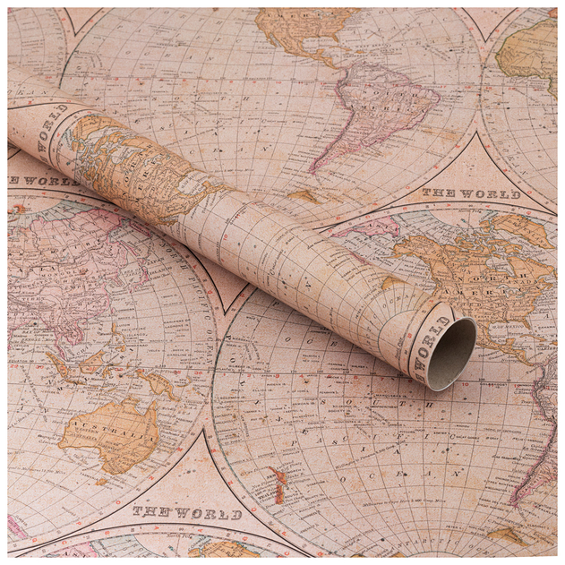WHSmith Maps Wrapping Paper 2m (1 Roll ) | WHSmith