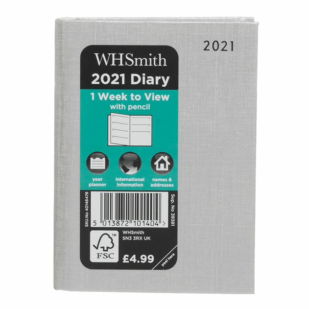 WHSmith Slim Week To View WTV 2021 Embossed Floral Raspberry Diary With Pen