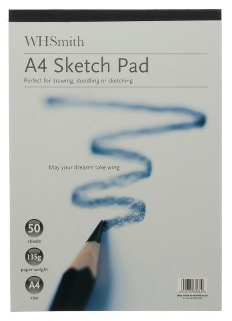 A4 Sketch pad book flip up drawing art creative fun white paper back card cover