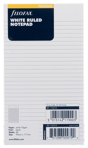Filofax Personal Refill White Ruled Notepad