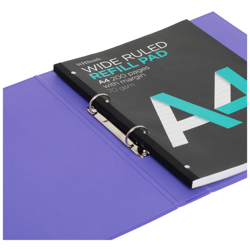 WHSmith Expanding A4 Folio Organiser Purple With 2 Ring Binder Mechanism