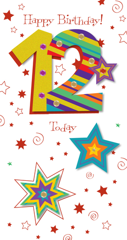 Ling Design 12th Birthday 3D Glitter Large Card