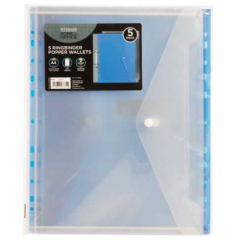 WHSmith Assorted Colours Ringbinder A4 Plastic Popper Wallets (Pack of 5)