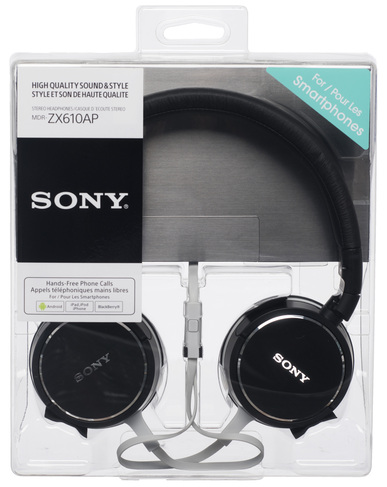 sony mdr-zx610ap black stereo headphones