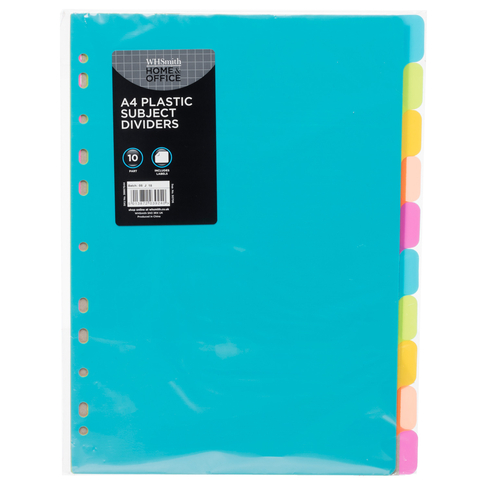 WHSmith 10 Part Bright Plastic A4 Subject Dividers