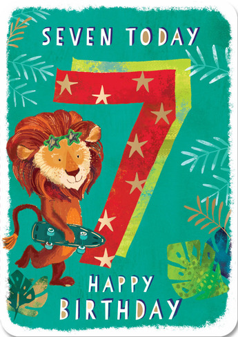 Ling Design Cool Lion 7th Birthday Card