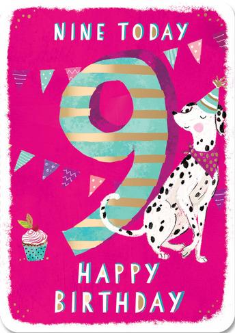 Ling Design Dotty Dalmation 9th Birthday Card