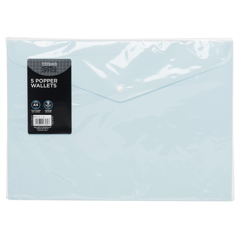 WHSmith Pastel Assorted A4 Popper Wallets (Pack of 5)