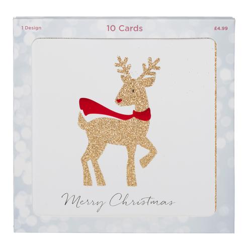 Reindeer Christmas Cards.Whsmith Gold Glitter Reindeer Christmas Cards Pack Of 10