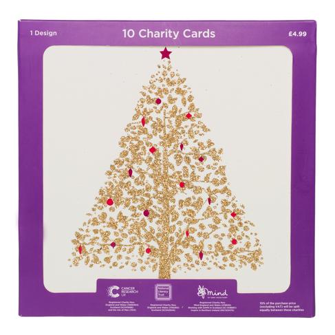 Glitter Christmas Cards.Whsmith Gold Glitter Christmas Tree Charity Christmas Cards Pack Of 10