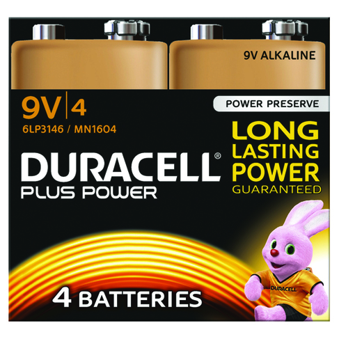 Duracell Plus Power Batteries Batteries 9V (Pack of 4)