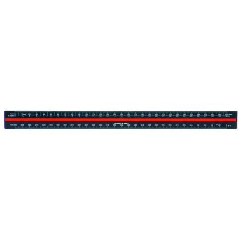 Linex Aluminium Tri-Scale Ruler 30cm Black H382
