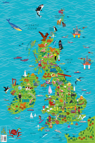 uk map for kids Children S Wall Map Of The United Kingdom And Ireland Whsmith